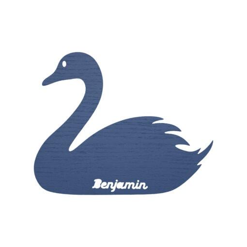 Blå svane lampe med navn skåret ud