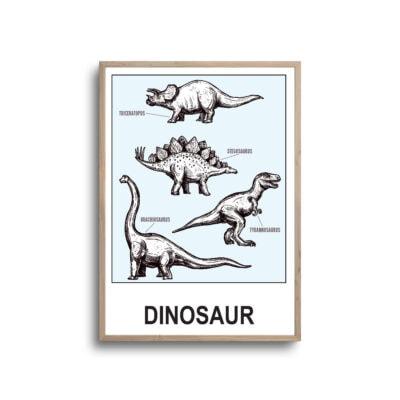 Lyseblå dinosaurer samling i ramme