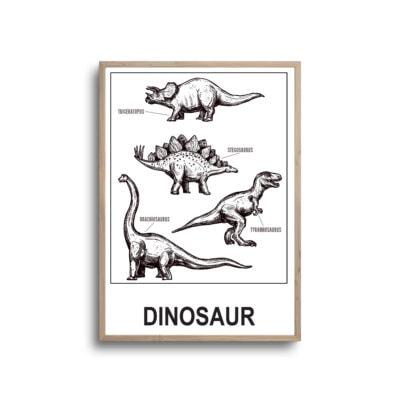 Dinosaurer plakat hvid i ramme