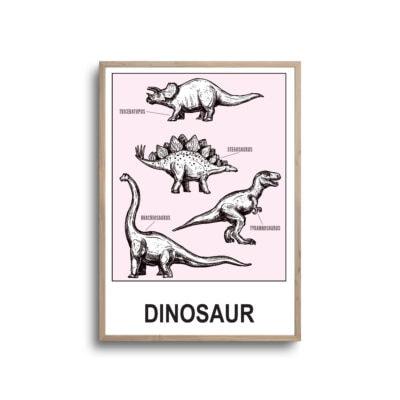 Lyserød dinosaurer samling på plakat