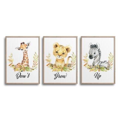 Sæt af 3 plakater med giraf, løve og zebra og citatet Dont Grow Up på en hvid væg