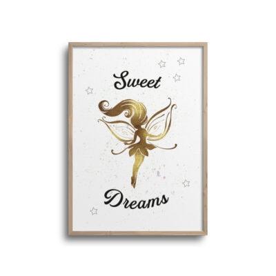 Gul fe plakat med citat Sweet Dreams på hvid væg