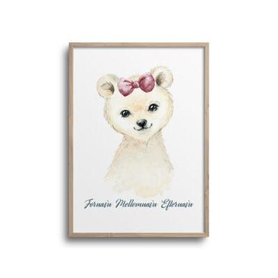 Pige isbjørn med pink pandebånd og navn - plakat