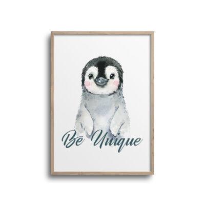 Pingvin plakat med citat Be Unique på hvid væg