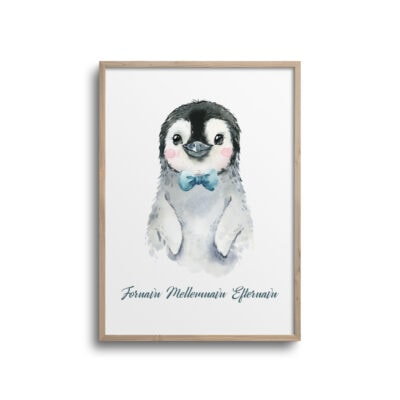 Pingvin med butterfly og navn på plakat til børneværelset