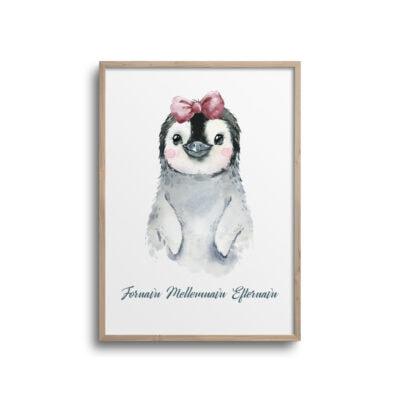 Pige pingvin med ink pandebånd og navn - Plakat