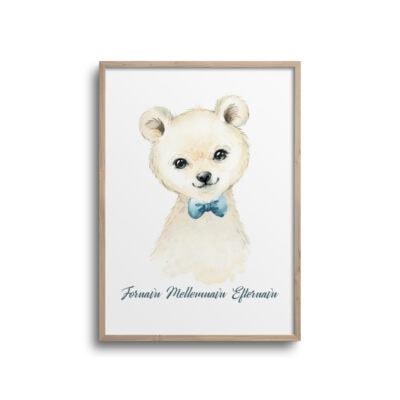 Plakat med isbjørn og navn på en hvid væg.