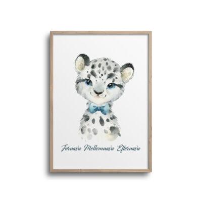 Sneleopard med blå butterfly og navn - plakat til børneværelse