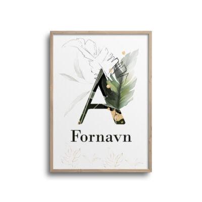 Plakat med tropisk bogstav A på en hvid væg.